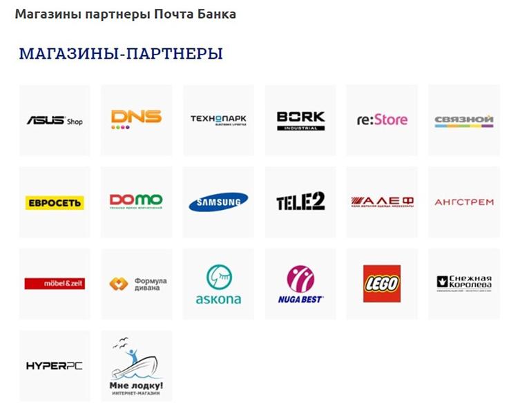 Магазины партнеры Почта Банк